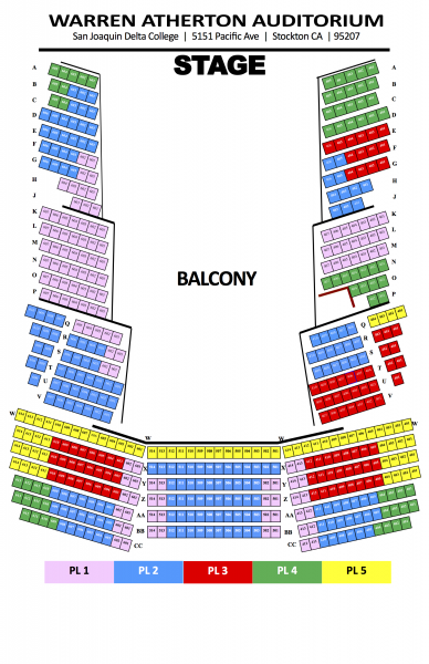 Warren Atherton Auditorium Seating Map - Balcony