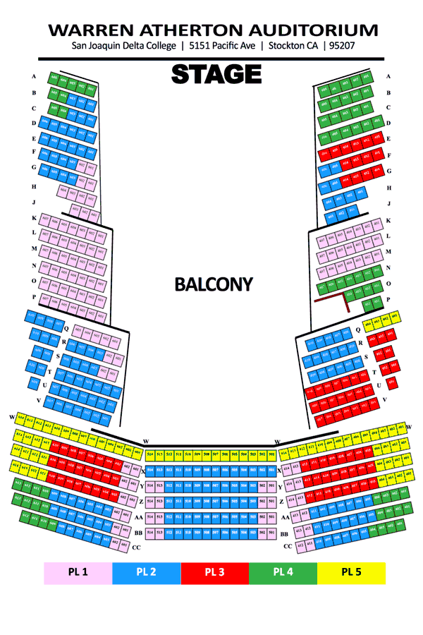 Warren Atherton Seating Map - Balcony